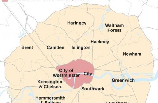"""伦敦设立24小时""""超低排放区"""",尾气超标车需额外缴费"""