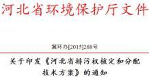 河北省发布印发《河北省排污权核定和分配技术方案》的通知